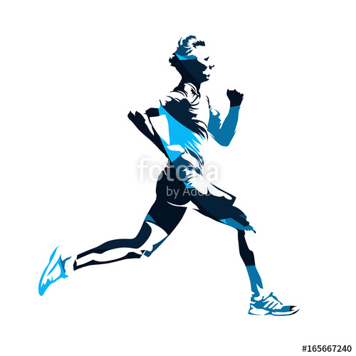 500x500 Running Man Profile, Blue Abstract Vector Silhouette Stock Image