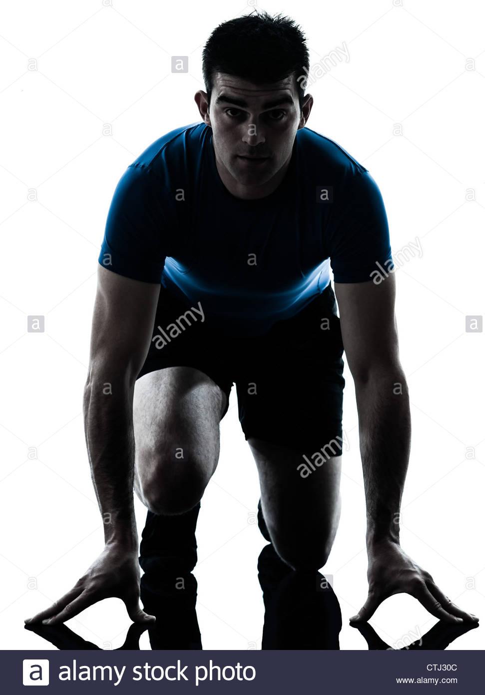 971x1390 One Caucasian Man Runner Running Sprinter Sprinting In Silhouette