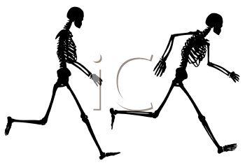 350x233 Royalty Free Clip Art Image Skeleton Running Silhouette