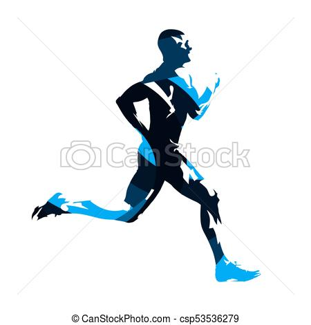 450x470 Running Man, Abstract Blue Vector Silhouette. Run, Side View