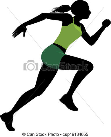 383x470 Female runner. Silhouette of a running woman, vector clipart