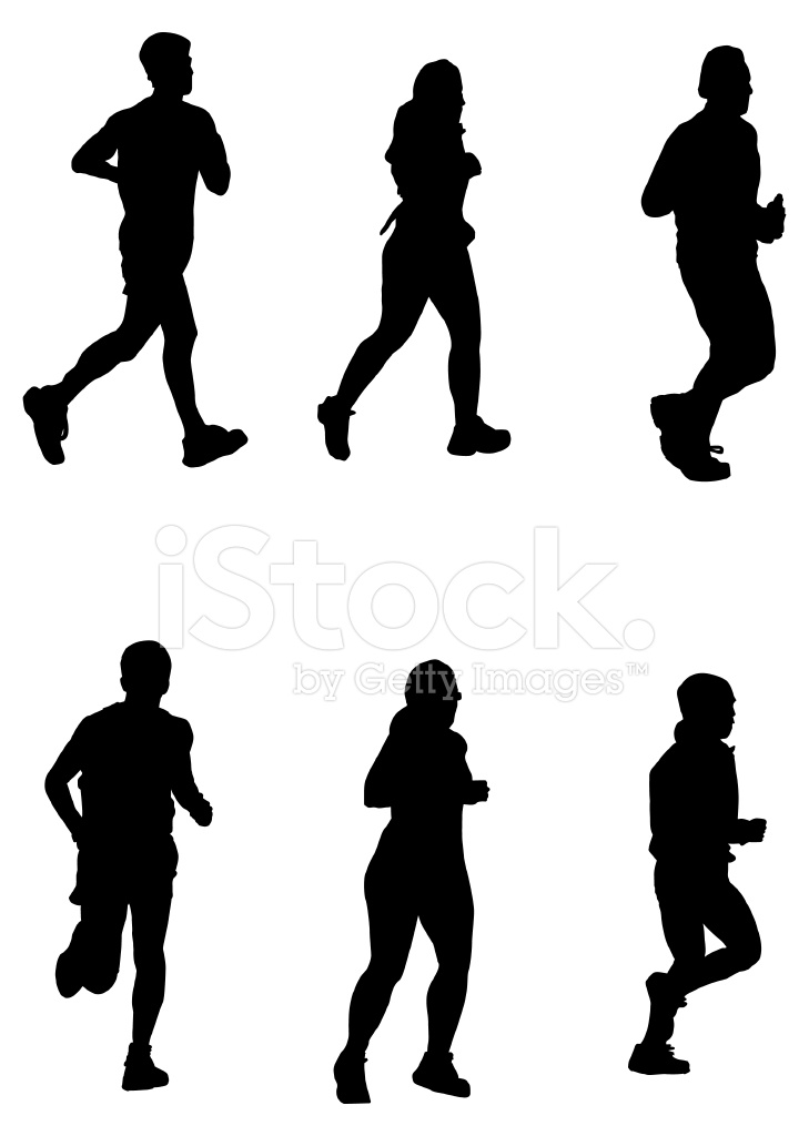 729x1024 Running For It! (Vector Drawing, Silhouette, Jog, Run) Stock