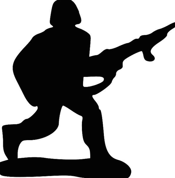 596x606 Soldier, Fighter, Consecutively, Silhouette, Outline, Running