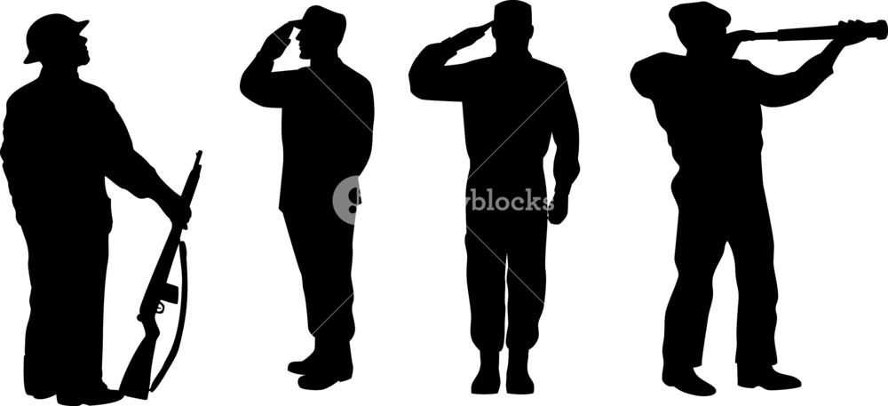 1000x457 Soldier Silhouettes Royalty Free Stock Image