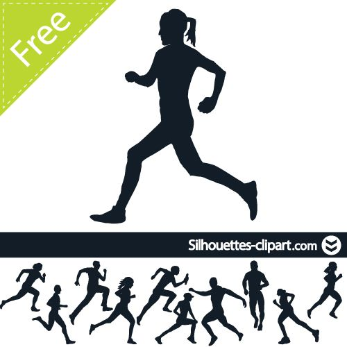 500x500 Vector Running People Silhouettes Running