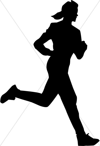 418x612 Woman In Silhouette Running Inspirational Clipart