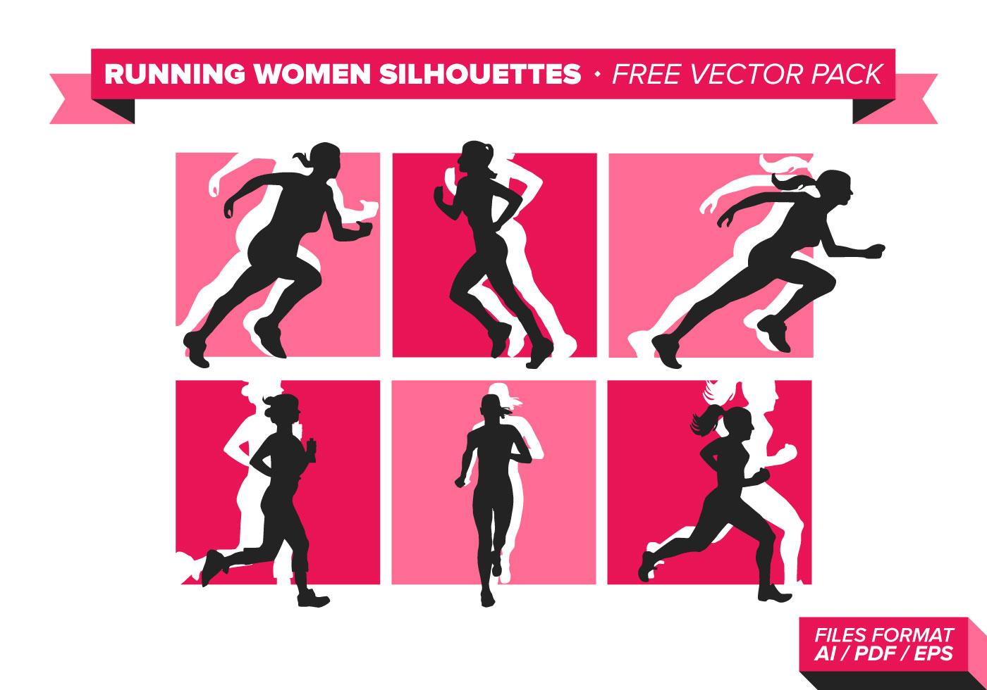 1400x980 Running Women Silhouette Free Vector Pack