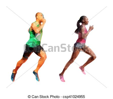 450x394 Running Man And Woman, Polygonal Abstract Polygonal Clipart