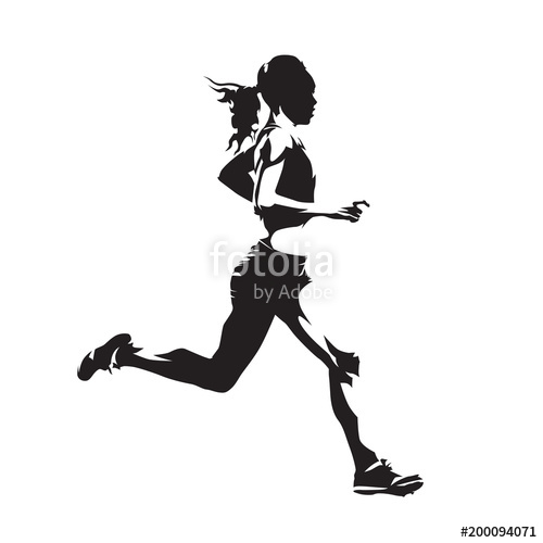 500x500 Running Woman, Abstract Vector Silhouette, Side View Stock Image