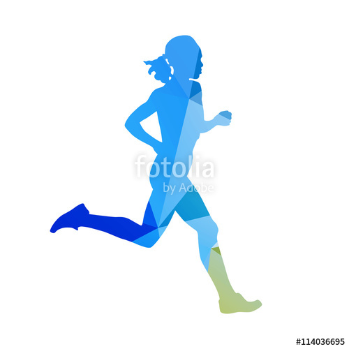 500x500 Abstract Running Woman Silhouette. Blue Vector Runner. Profile