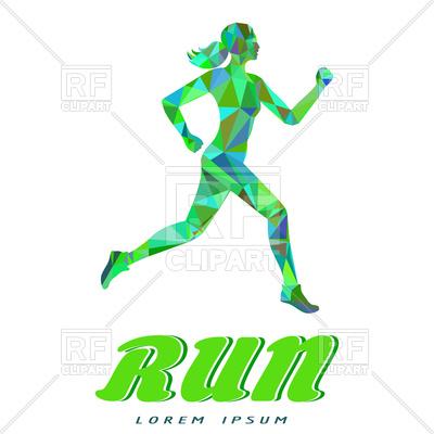 400x400 Running Woman In Popygonal Style, Emblem For Run Royalty Free