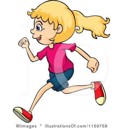 400x420 Dazzling Running Clipart Vector Of A Row Three Kids On White By