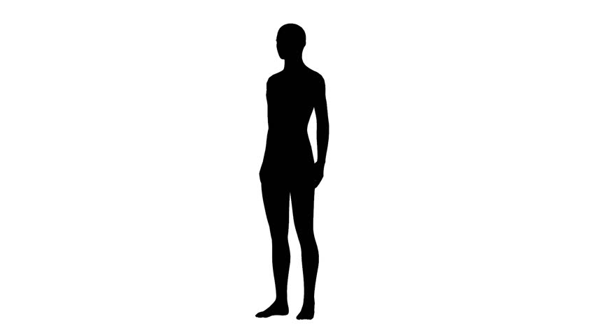 852x480 Silhouette Of Woman Model Of Black Color Go On White Background