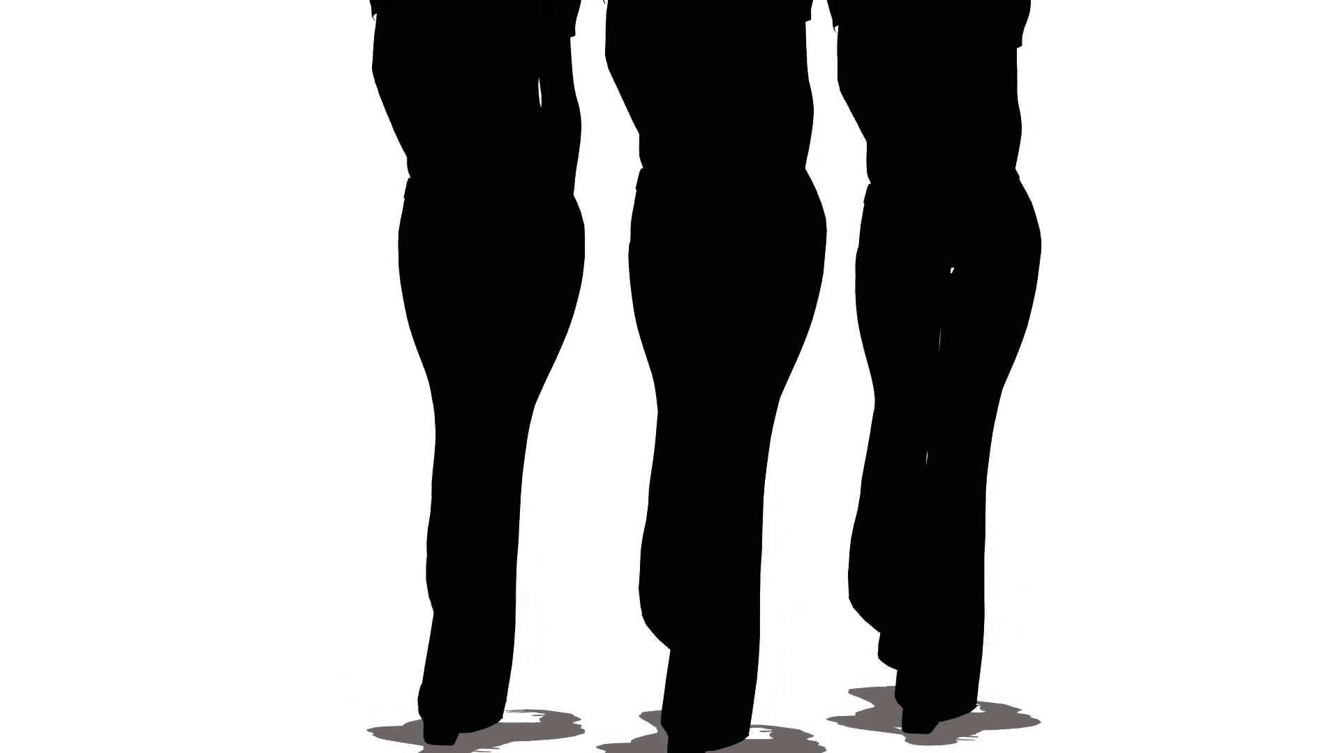 1920x1080 Silhouettes Of Three Women Models Of Black Colors Go On White