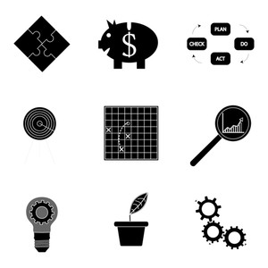 300x300 Black Silhouette Business Icons. Analysis And Tactic Productivity