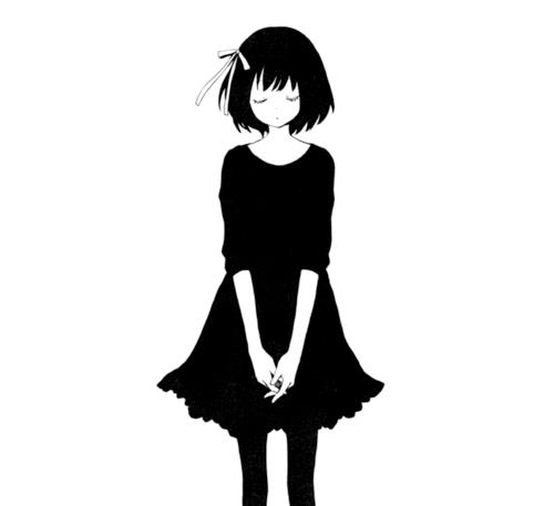 500x457 Black And White Anime Manga Love Sad Girl Clipart