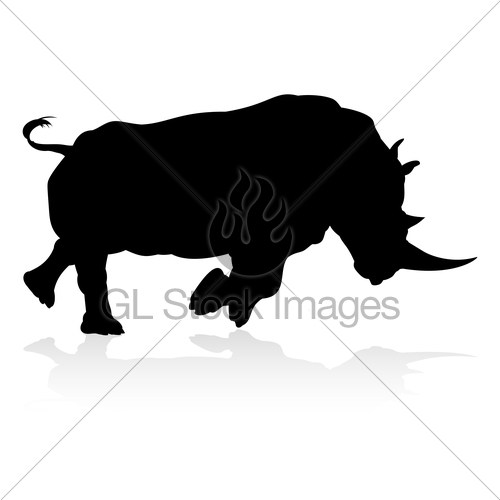 500x500 Rhino Animal Silhouette Gl Stock Images