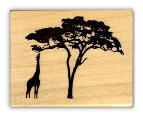 288x235 Giraffe And Acacia Tree Silhouette African Mounted Rubber Stamp