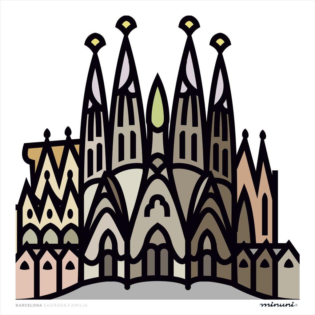 1024x1024 Xl 50x50 La Sagrada Familia (Pasteles), Barcelona Minuni Art