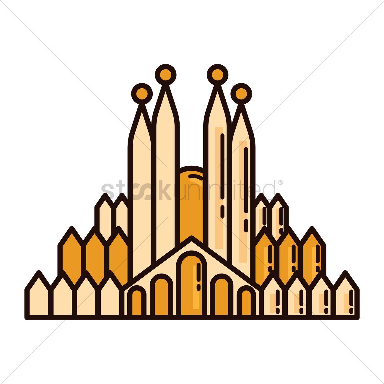 1300x1300 Sagrada Familia Vector Image