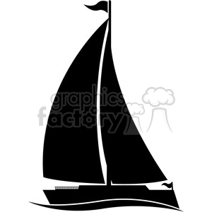 300x300 Royalty Free Large Sailboat Silhouette In Water With Flag 394860