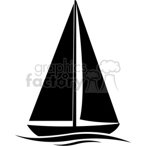 300x300 Royalty Free Sailboat Silhouette In Water 394867 Vector Clip Art