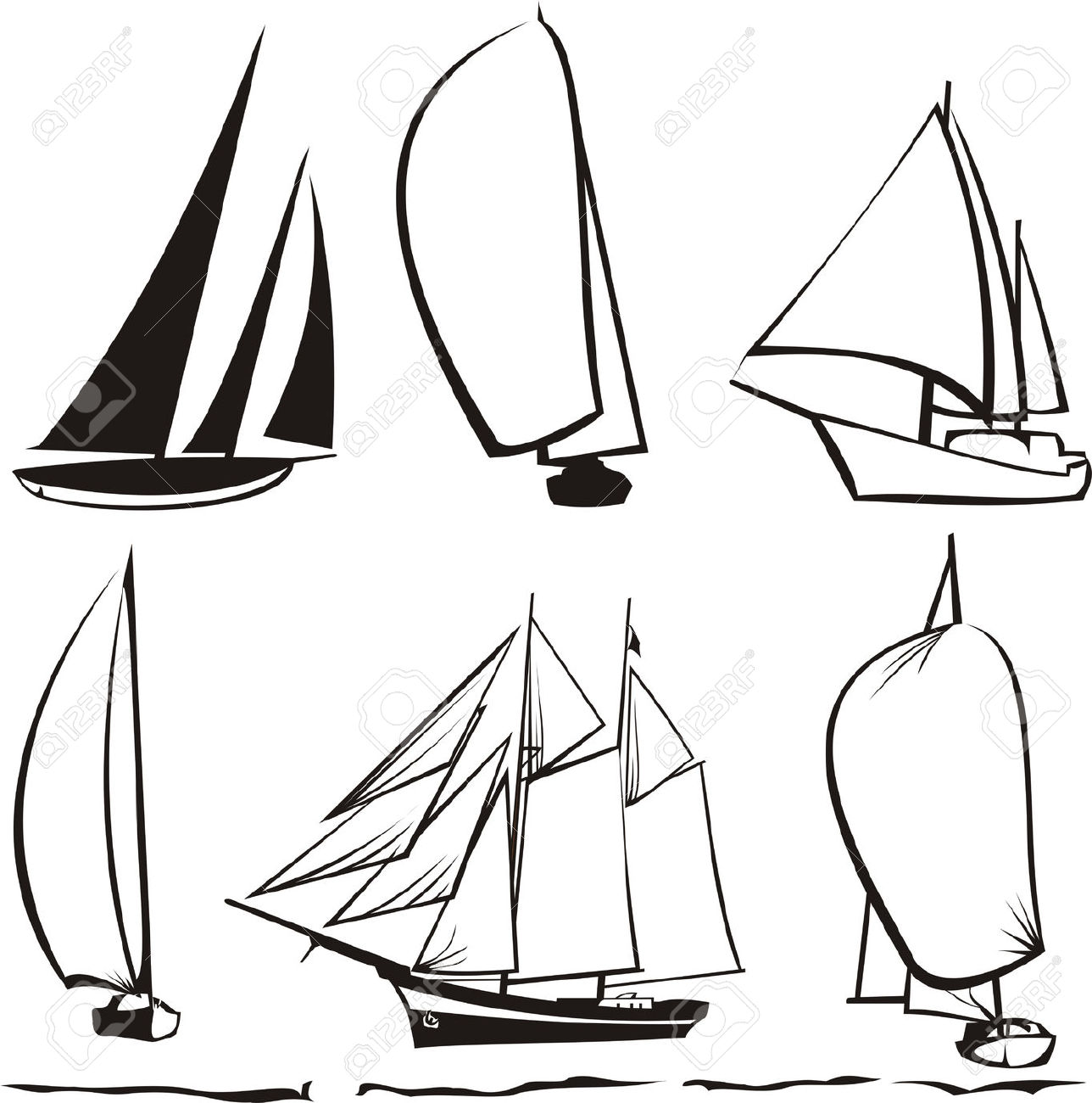 1288x1300 Drawn Sailing Silhouette