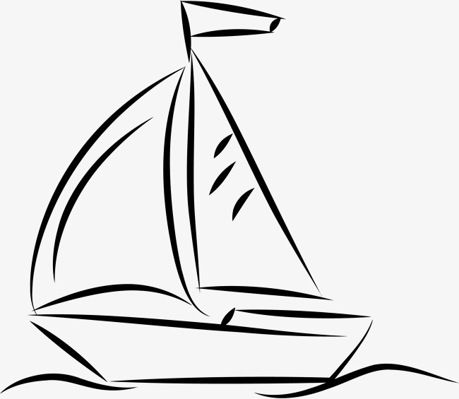 650x565 Hand Drawn Sailboat, Black, Silhouette, Colour Png Image