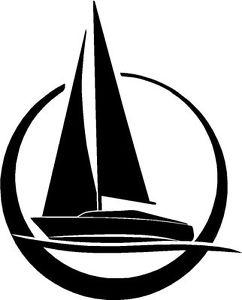 242x300 Sail Boat Sailing Marine Silhouette Sticker Decal Graphic Vinyl
