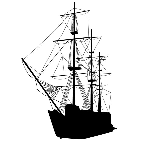 600x565 Caravel Sailing Ship Silhouette Vector Art, Vectors