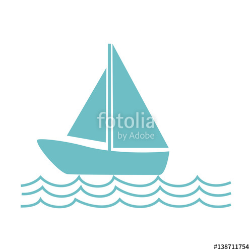 500x500 Monochrome Silhouette With Sailing Boat On The Waves Vector