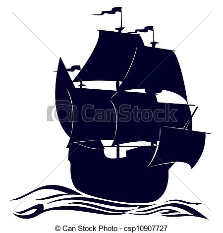 450x470 Contour Of A Sailing Ship. Old Sailing Ship. Illustration