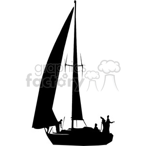 300x300 Royalty Free Sailboat Silhouette With People 394853 Vector Clip