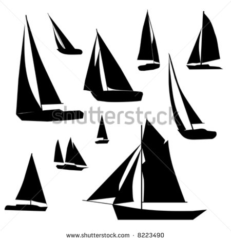 450x470 Vector Collection Of Isolated Sailboat Silhouette Designs. Home