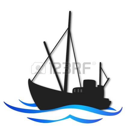 422x450 Silhouette Of Person On A Boat Clipart