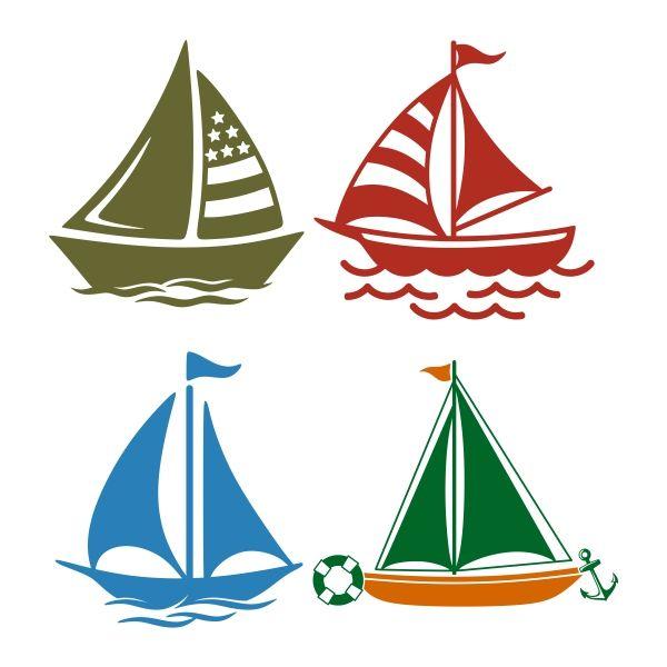 600x600 Nautical Sailboat Cuttable Design Cut File. Vector, Clipart