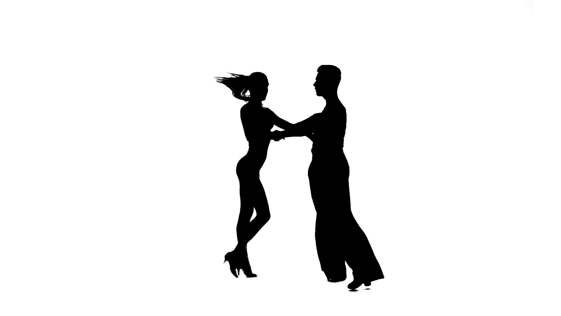 1920x1080 Silhouette Pair Dancers Perform Ballroom Dance, White Background