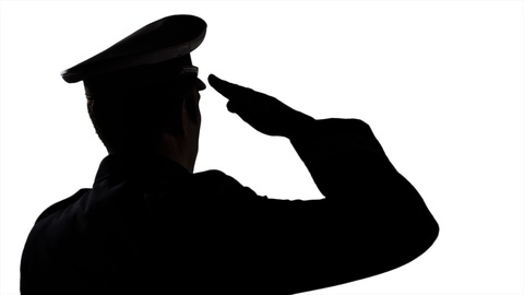 480x270 4k Saluting Officer Man, Officer Peaked Hat Silhouette, Army Force