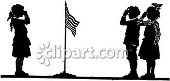 350x167 At School Salute To The Flag Black And White Clipart