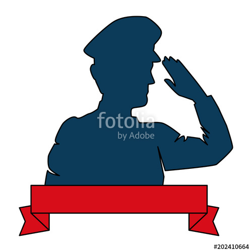 500x500 Silhouette Of Military Saluting With Ribbon Vector Illustration