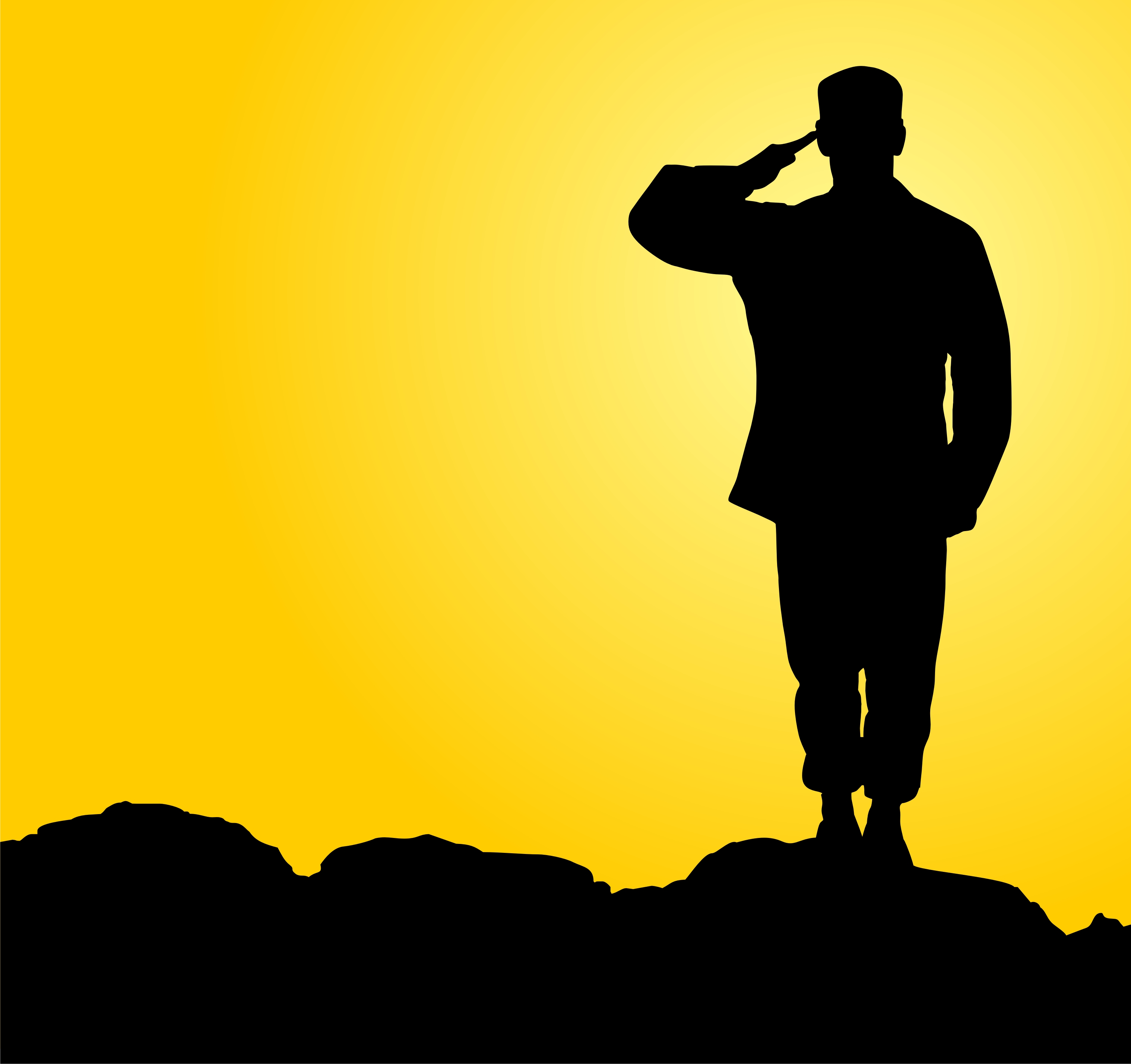 Saluting Soldier Silhouette Free Vector