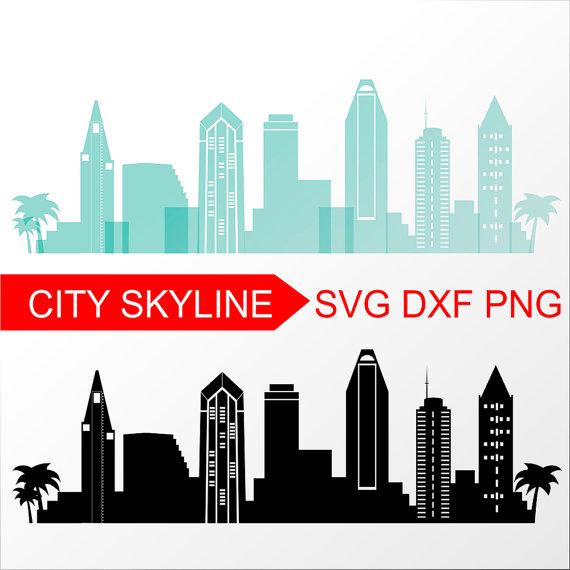 570x570 San Diego Svg Vector Skyline San Diego Silhouette Svg Dxf