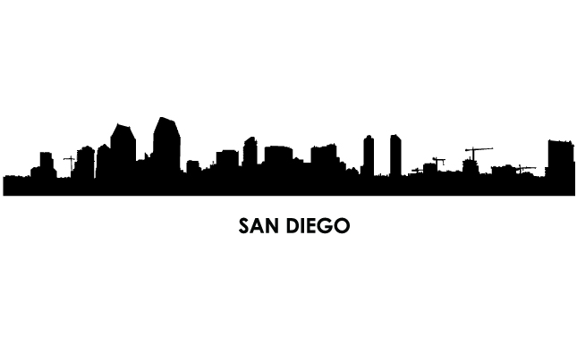 645x395 San Diego Skyline Clipart
