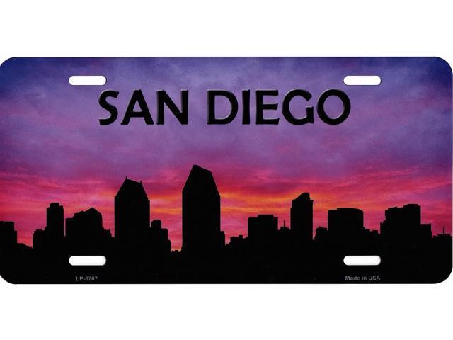 640x480 San Diego Skyline Silhouette Metal License Plate