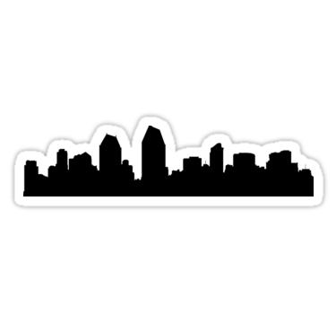 375x360 San Diego Skyline Stickers By Maximgertsen Redbubble