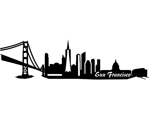 522x418 San Francisco Skyline Car Sticker Amazon.co.uk Kitchen Amp Home