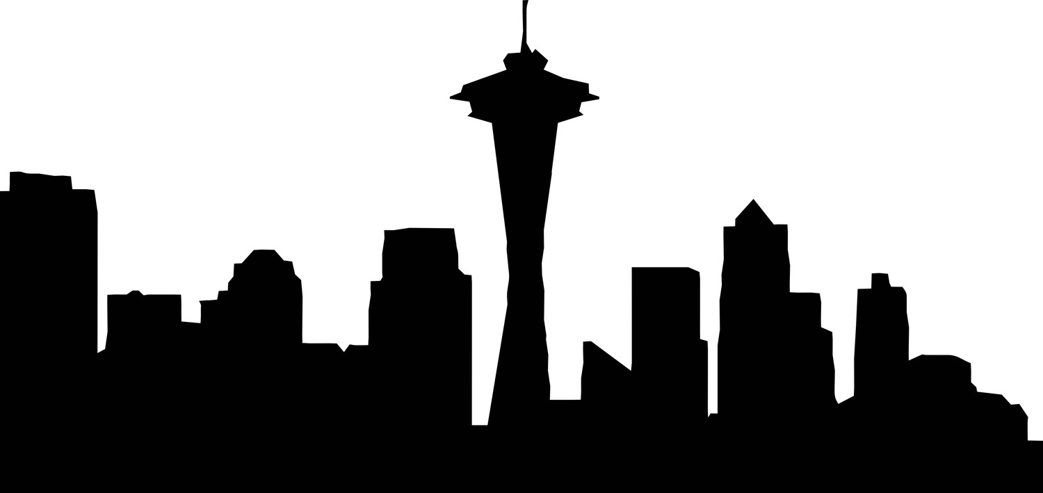 1500x709 Free Seattle Skyline Outline, Hanslodge Clip Art Collection