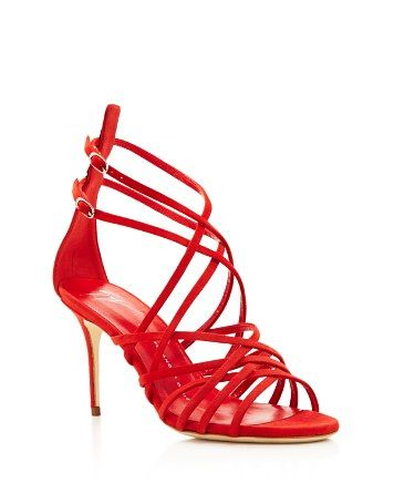 356x446 Giuseppe Zanotti Cage Suede Strappy High Heel Sandals