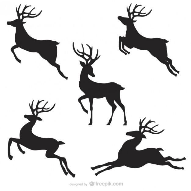 626x626 Black Reindeer Silhouettes Pack Vector Free Download