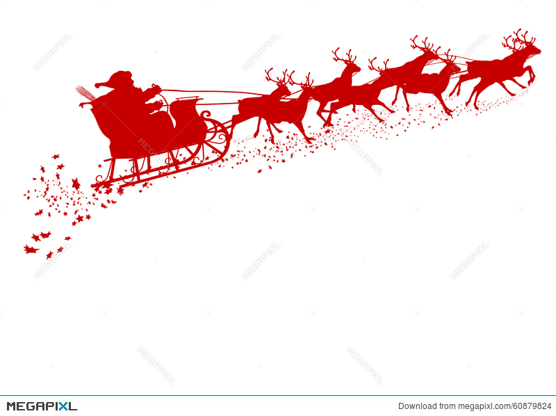 800x598 Santa Claus With Reindeer Sleigh